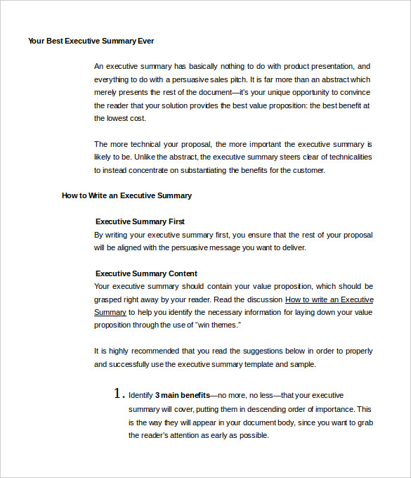 Project Summary Template Project Executive Summary Example – Executive Summary Template