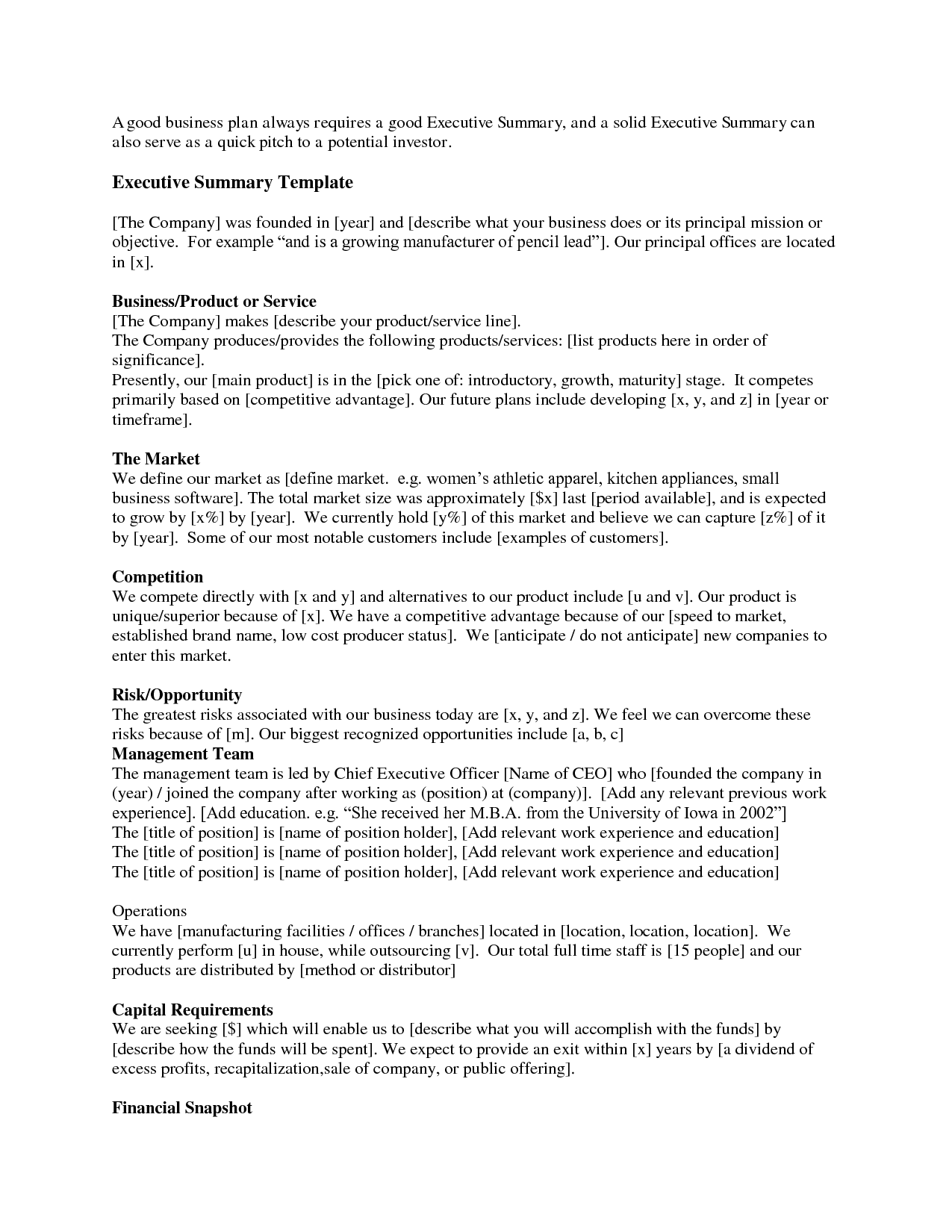 Business plan one page summary proposal