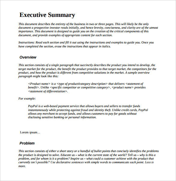 How is an Executive summary example written?