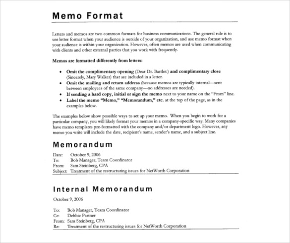 Formal Memo Template Download Formal Memo Examples Samples Proper