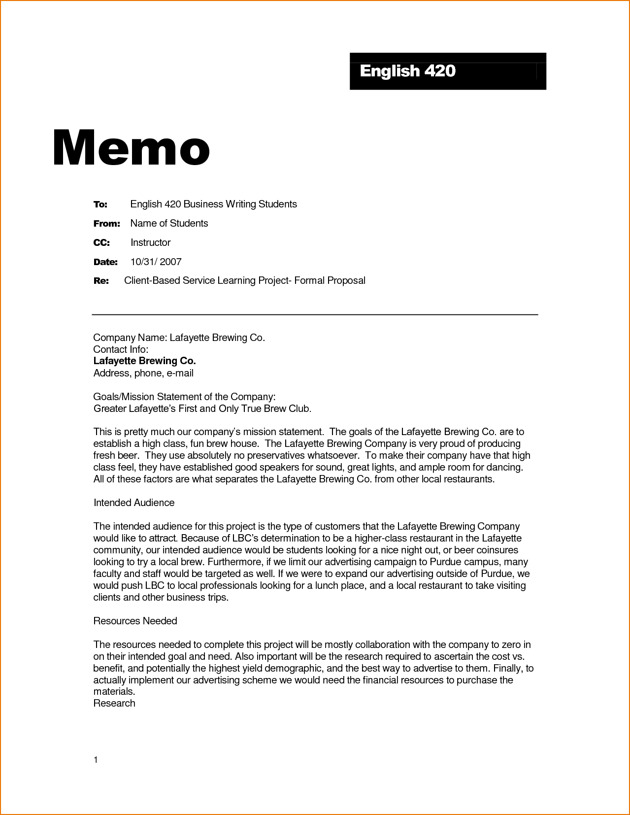 How is a business memo format written for Memo templat
