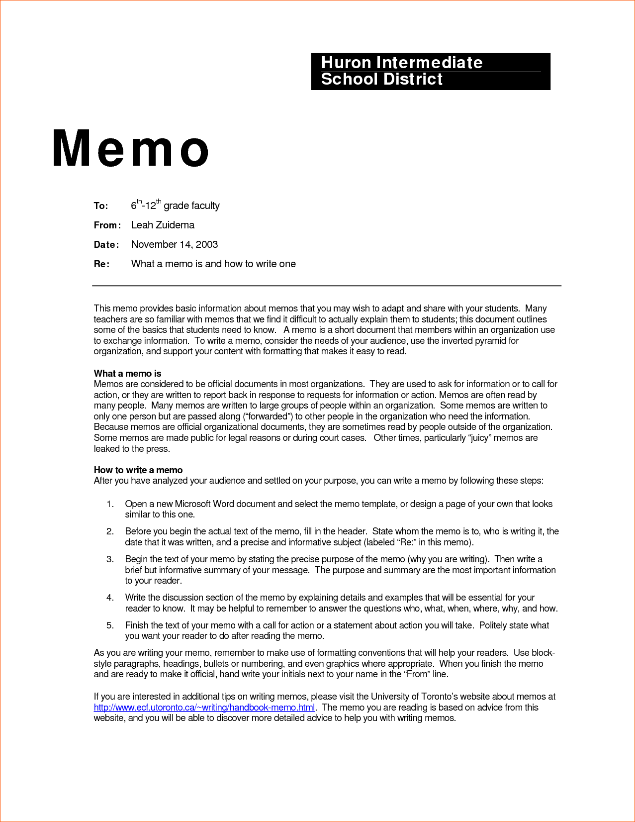 How is a business memo format written?