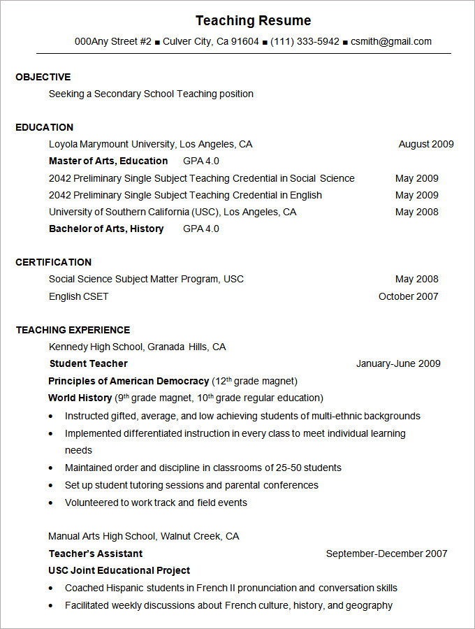 resume format english resume format teacher english resume format