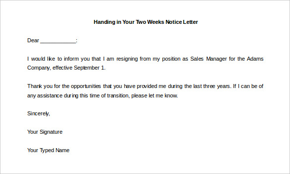 Why is a two weeks' notice letter required?