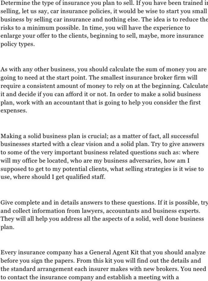 Insurance Business Plan