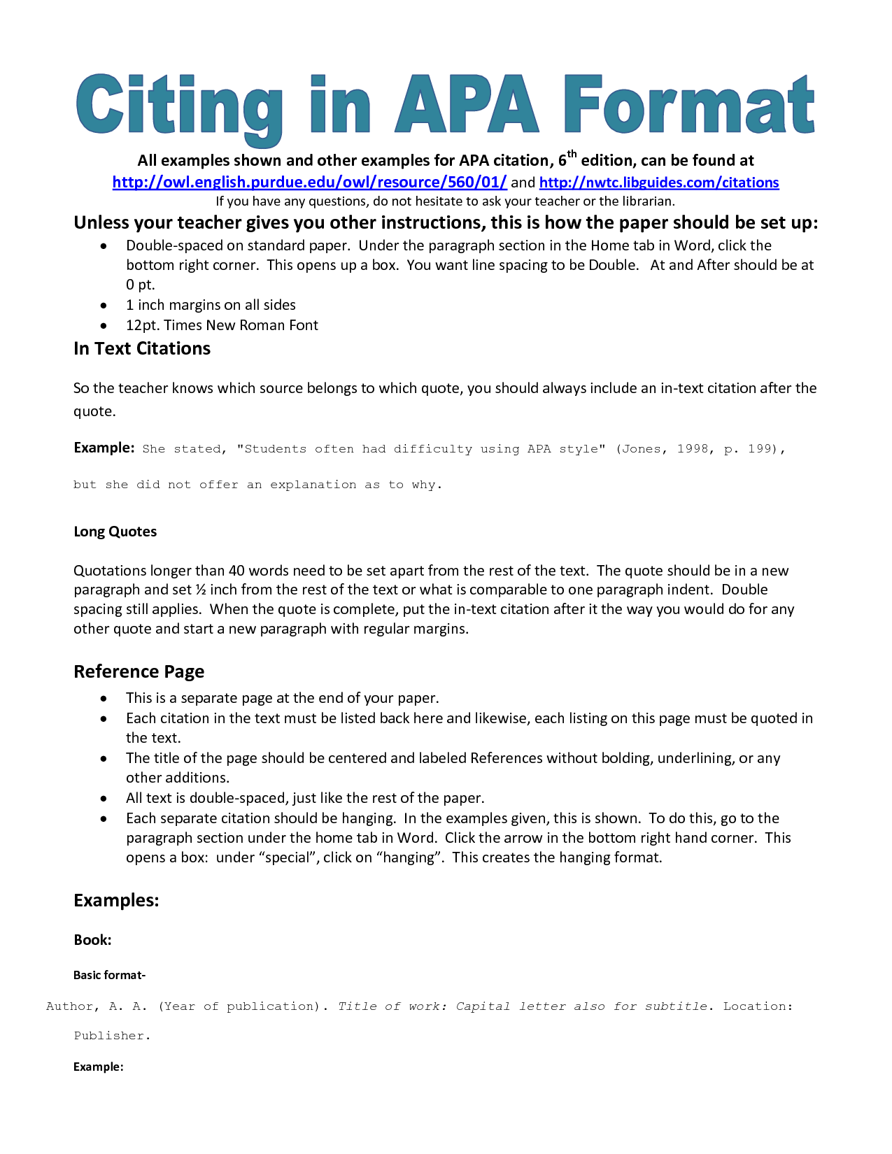 apa format examples references Apa style: handling quotations, citations, and references selected by the writing center at armstrong atlantic state university, the examples in this handout are.