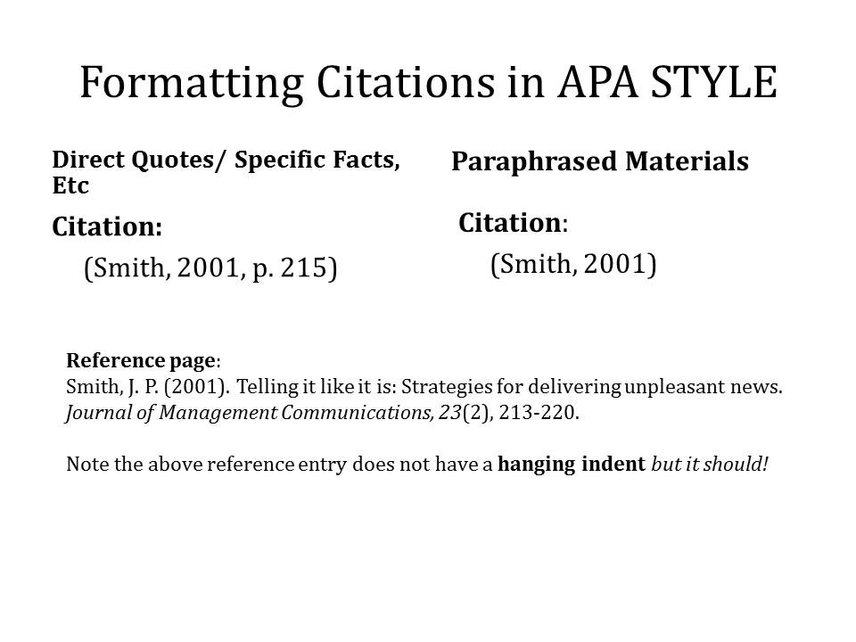 citing format In the 7th edition of the handbook, a separate set of citation instructions were  given for each format type the problem with this approach is that.
