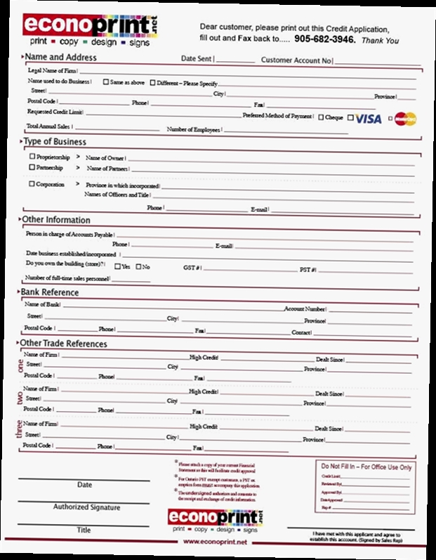 Business Credit Application Form Pdf  Obfuscata