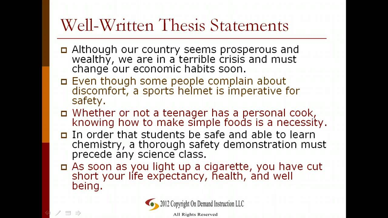 great thesis statements examples Examples of thesis statements in student papers from previous years (nb: the thesis statements are in bold print) (1) an excellent thesis at the end of a longer.