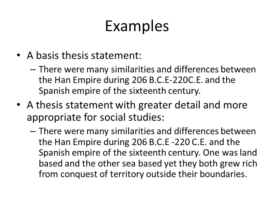 Sample of thesis statement