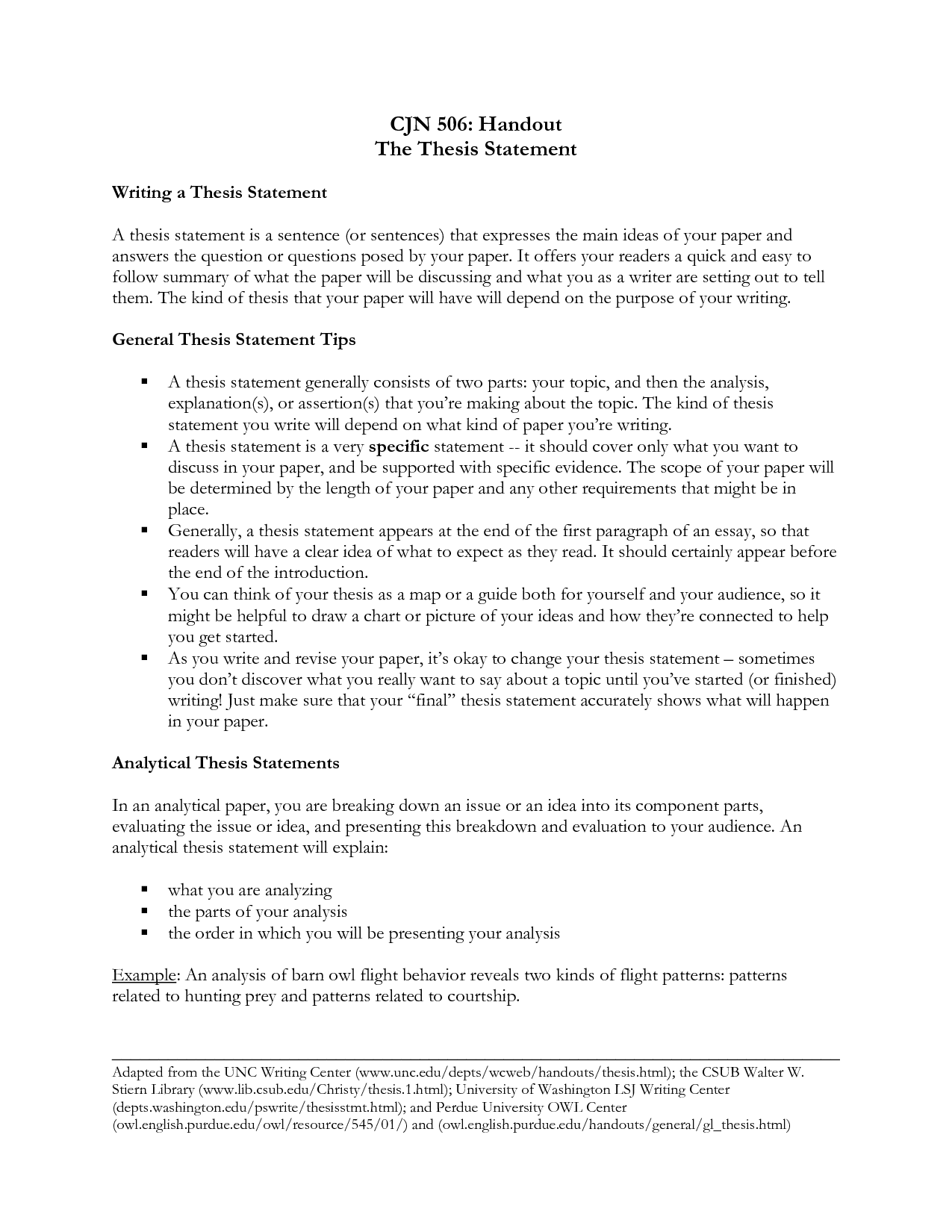 examples of thesis statements