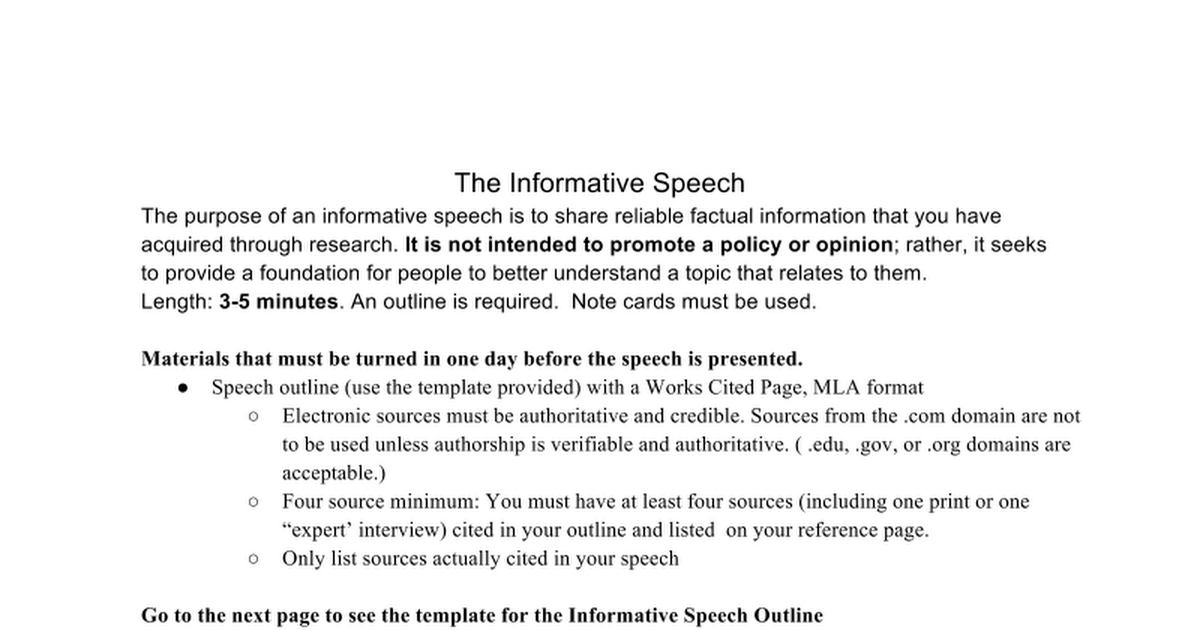 mla informative speech outline Increasingly we live in a complex and interdependent world, and so in this course our informative speech will focus on a global issue or organization a speaking outline identifying and using the most appropriate organizational pattern applying informative speaking principles constructing a typed mla works cited list.