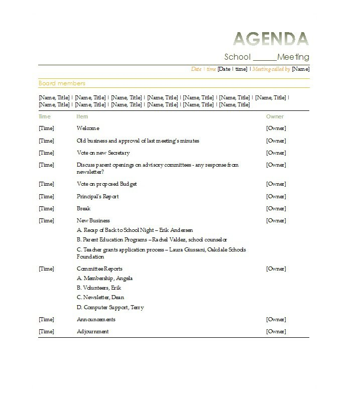 Meeting Agenda Format Thogati Interesting Template Example For