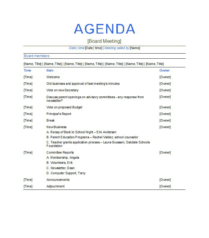 What Are The Tips That A Meeting Agenda Template Offers