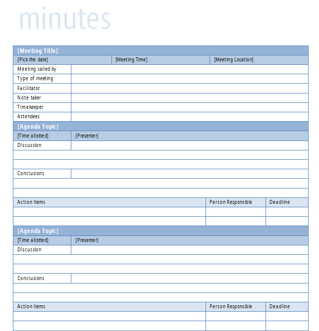 meeting minutes template
