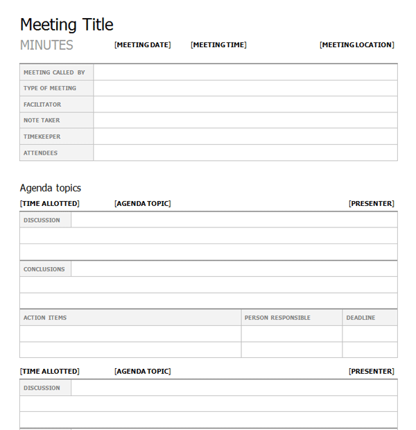 What are the elements of a meeting minutes template for Taking minutes in a meeting template