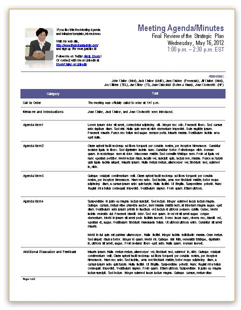 Meeting Summary Template Staff Meeting Minutes Template