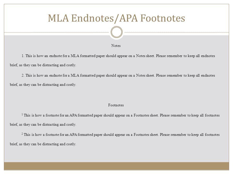 Apa foot note