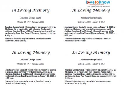 Where to get an obituary template for free for Template for writing an obituary