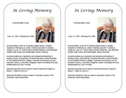 obituary template