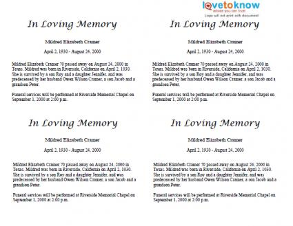Template Obituary. obituary program sample obituary template ...