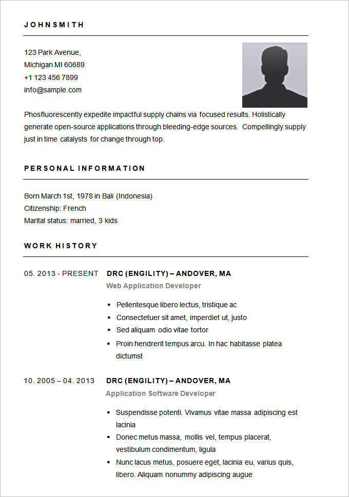 28 best 25 cv format sle basic resume sle simple layout