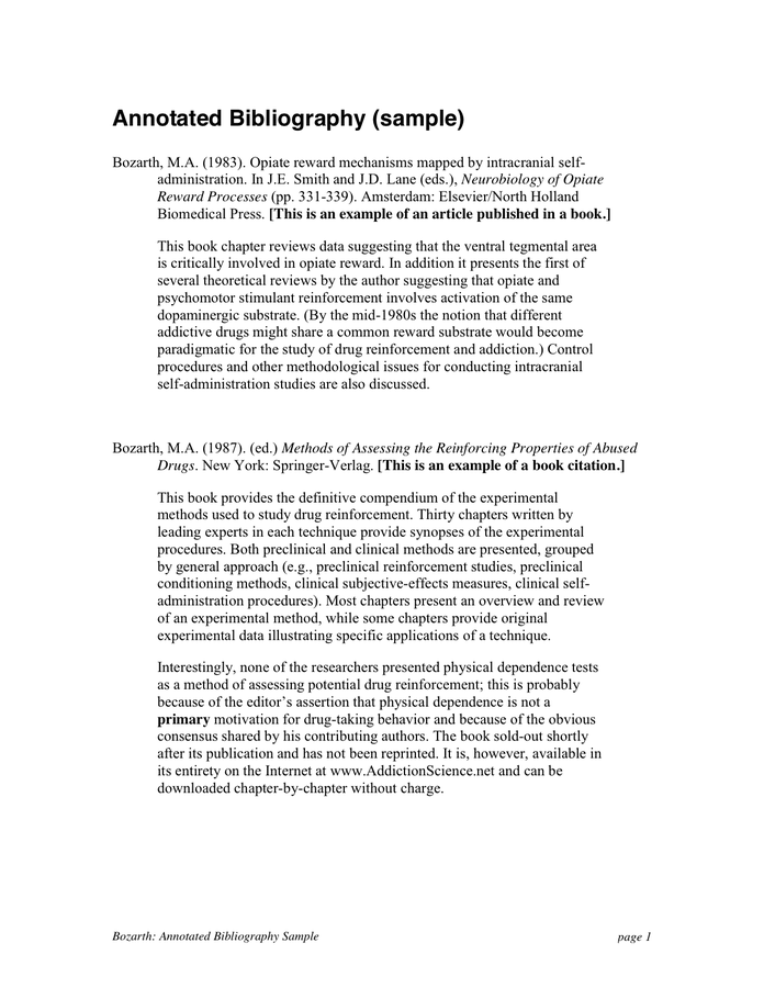 directions regarding annotated bibliography