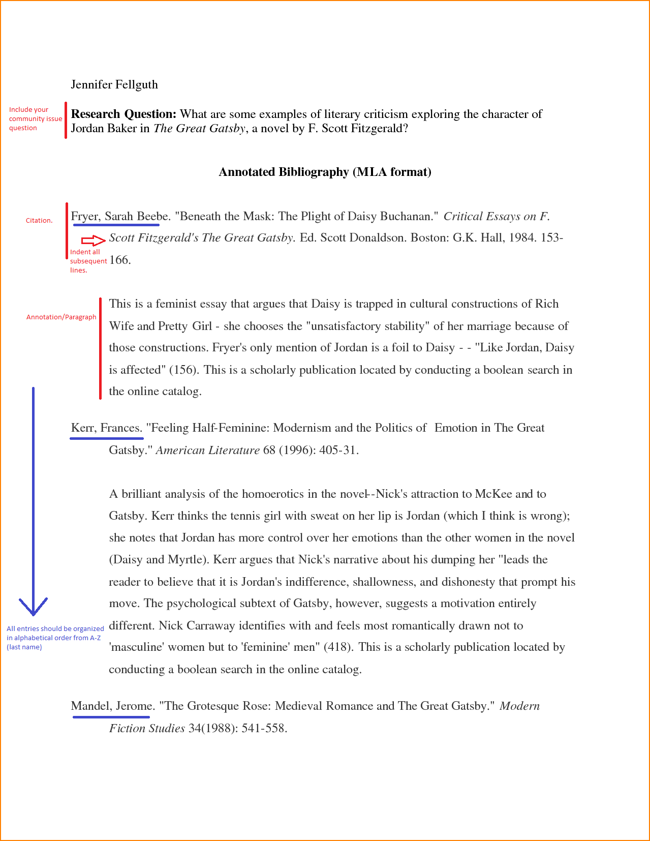 Annotated Bibliography Example MLA
