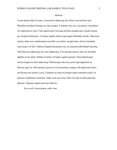 Abstract page of an APA paper.
