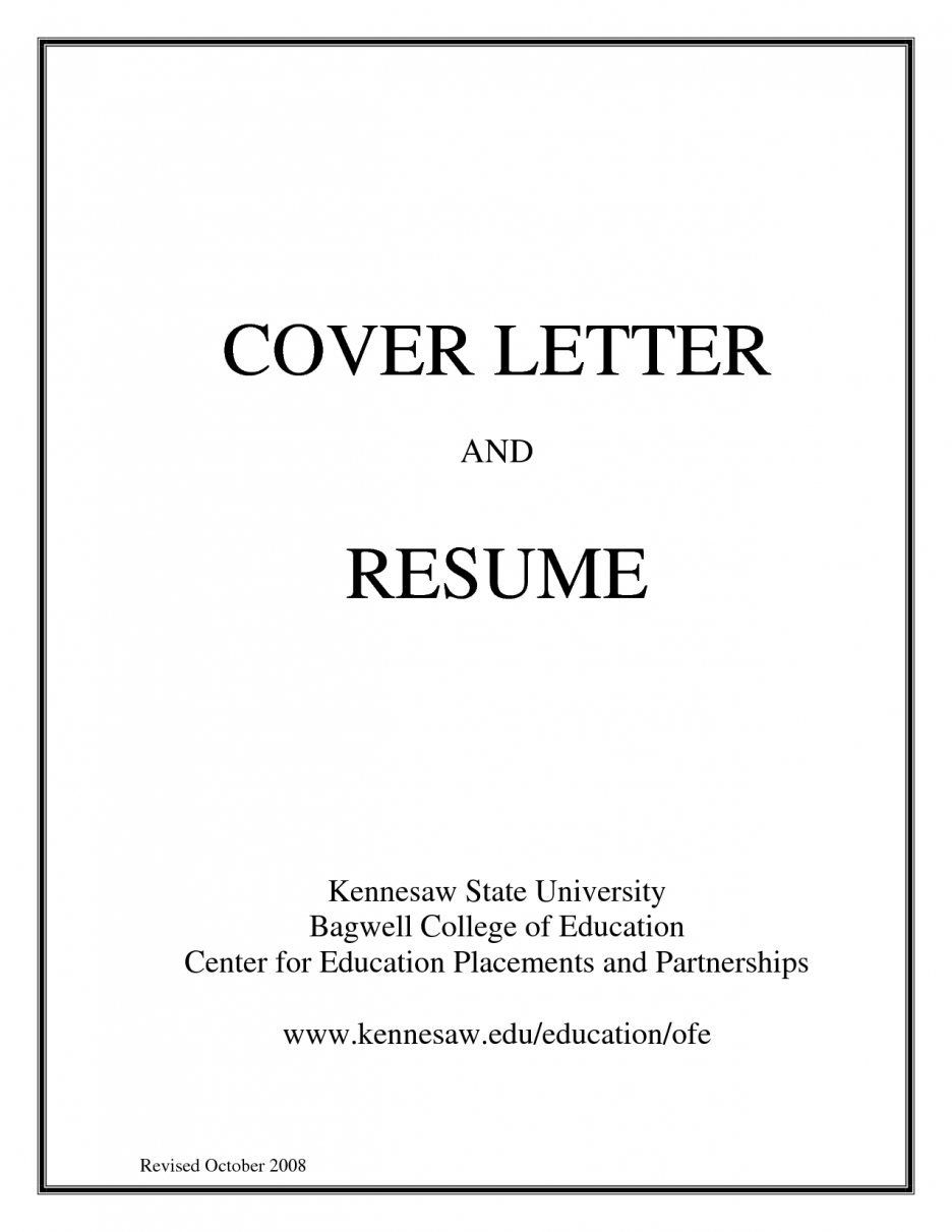 cover page of cv - Cover Page Resume
