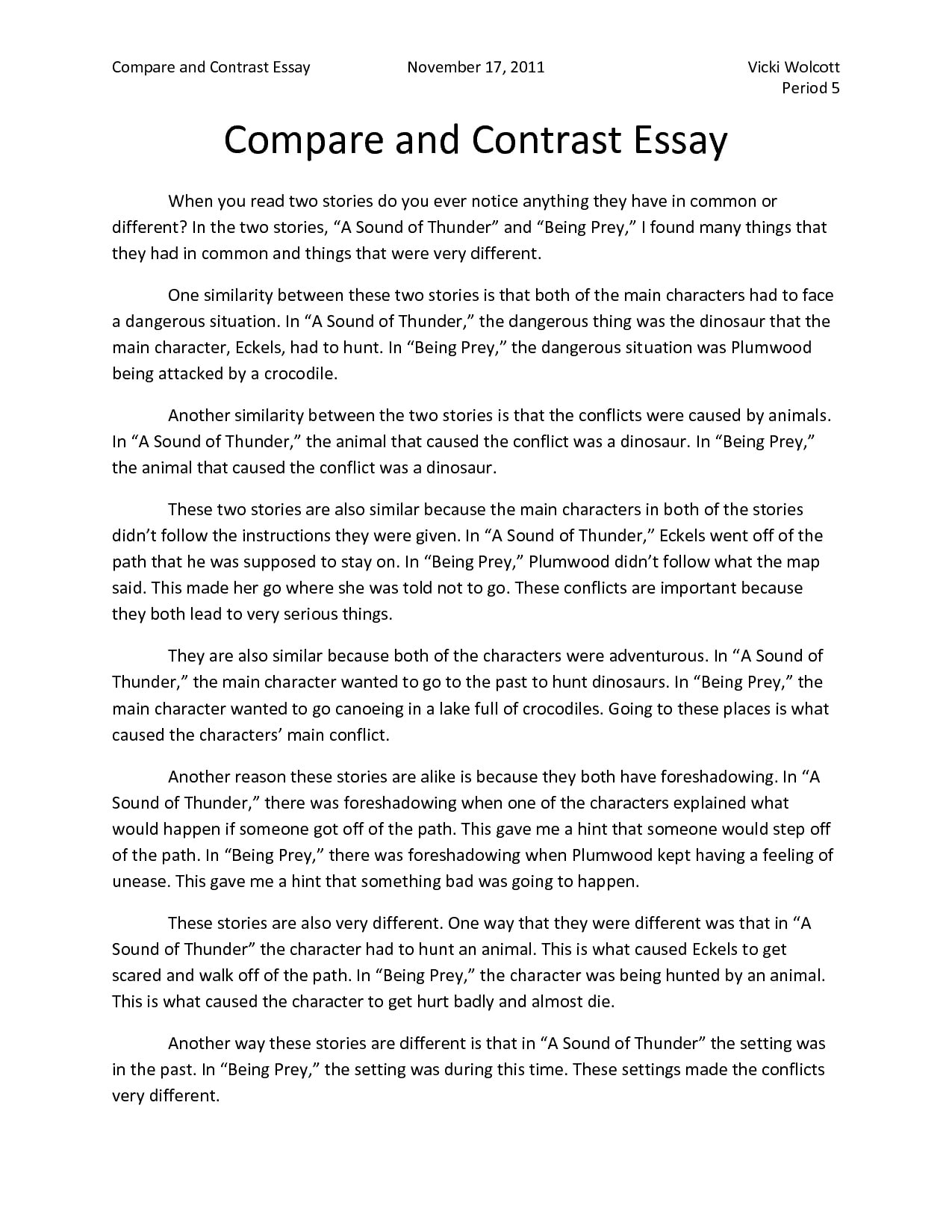 How to end a compare and contrast essay