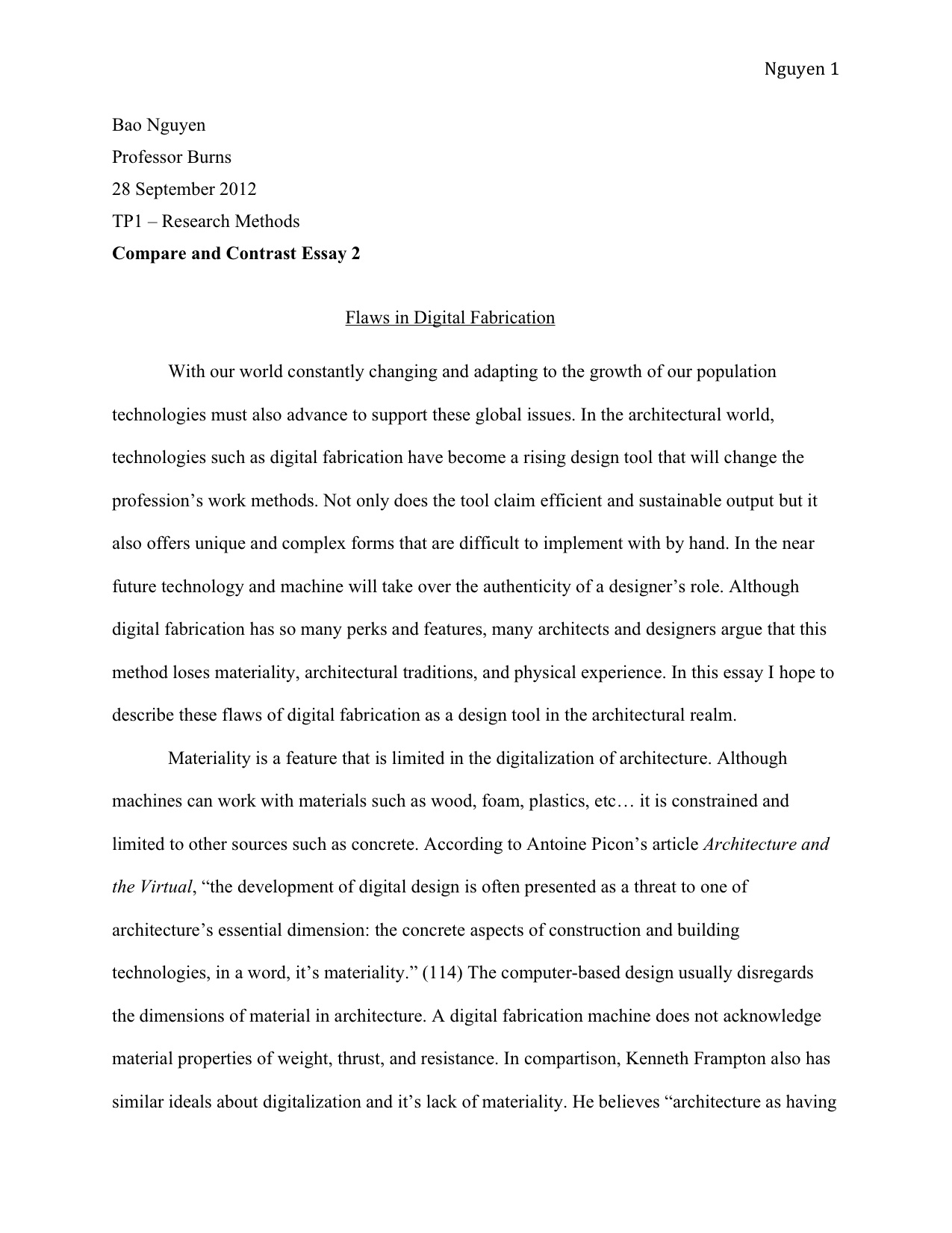 Thesis in writing essays
