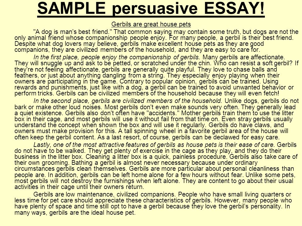 what makes an essay convincing Since this is the most common type of essay, it is important to be familiar with its requirements and style check out our persuasive essay samples to get acquainted with this popular form.
