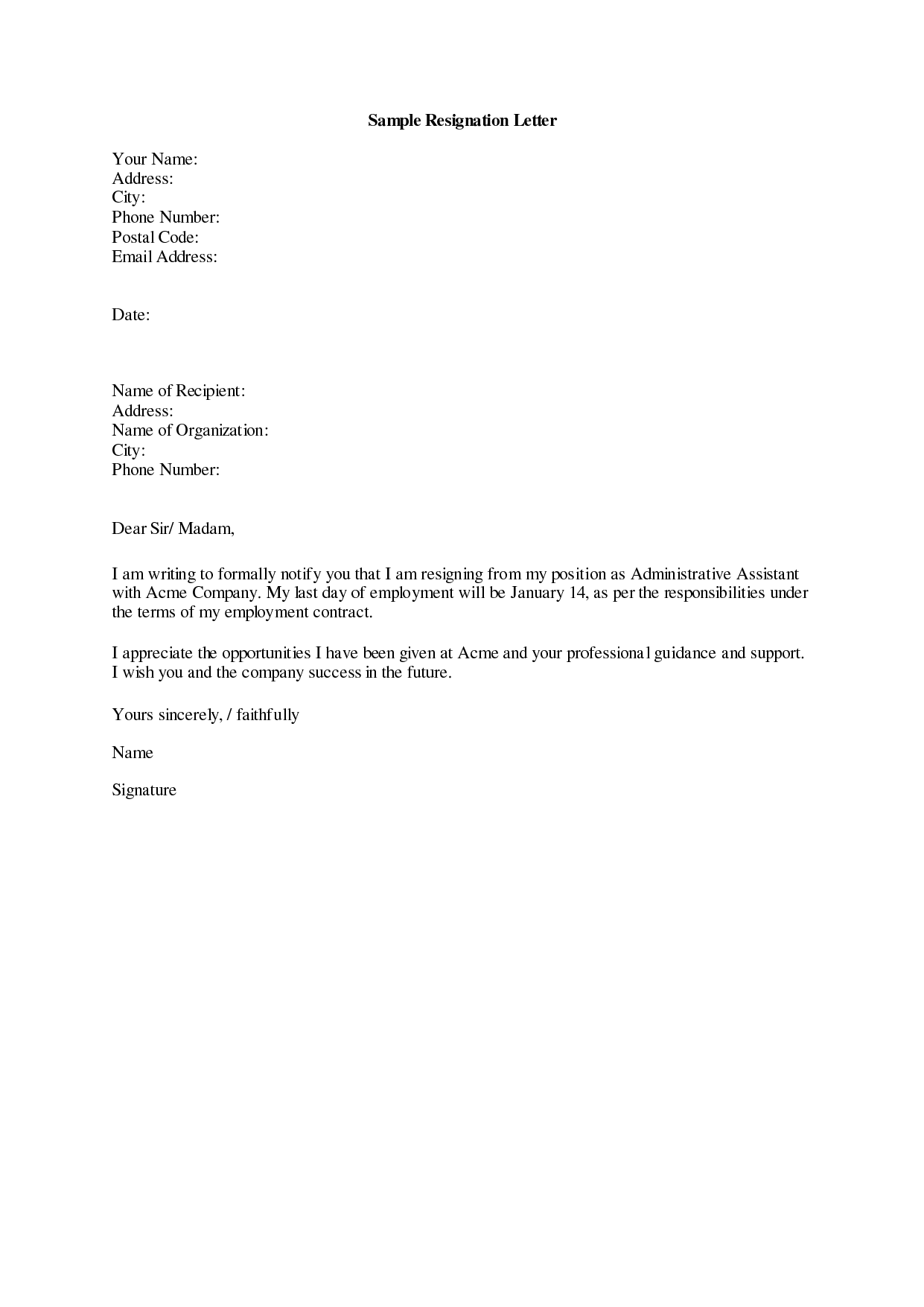 Resigning Letter Example Obfuscata – Example Resignation Letter