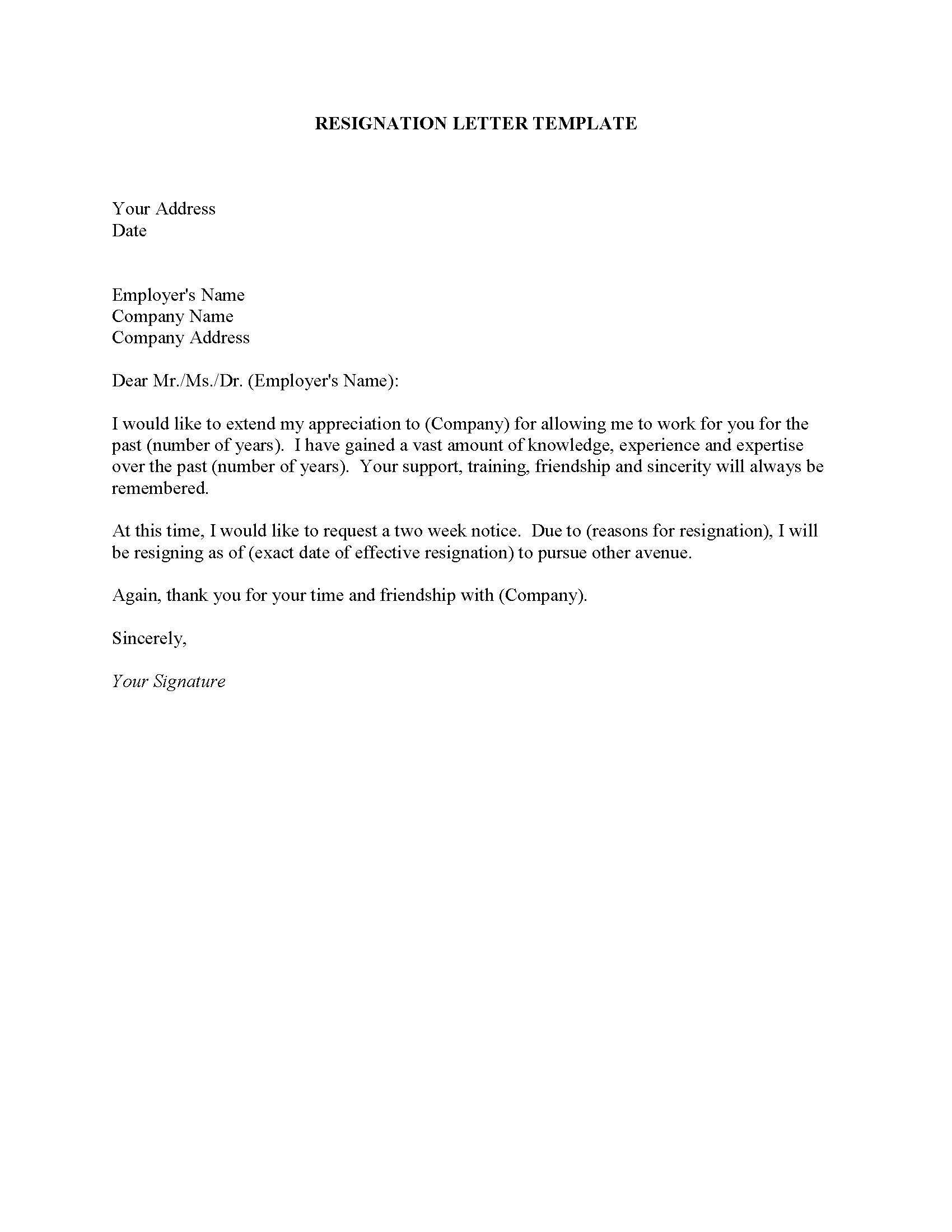Resigning letter example Obfuscata – Www.resignation Letter Example