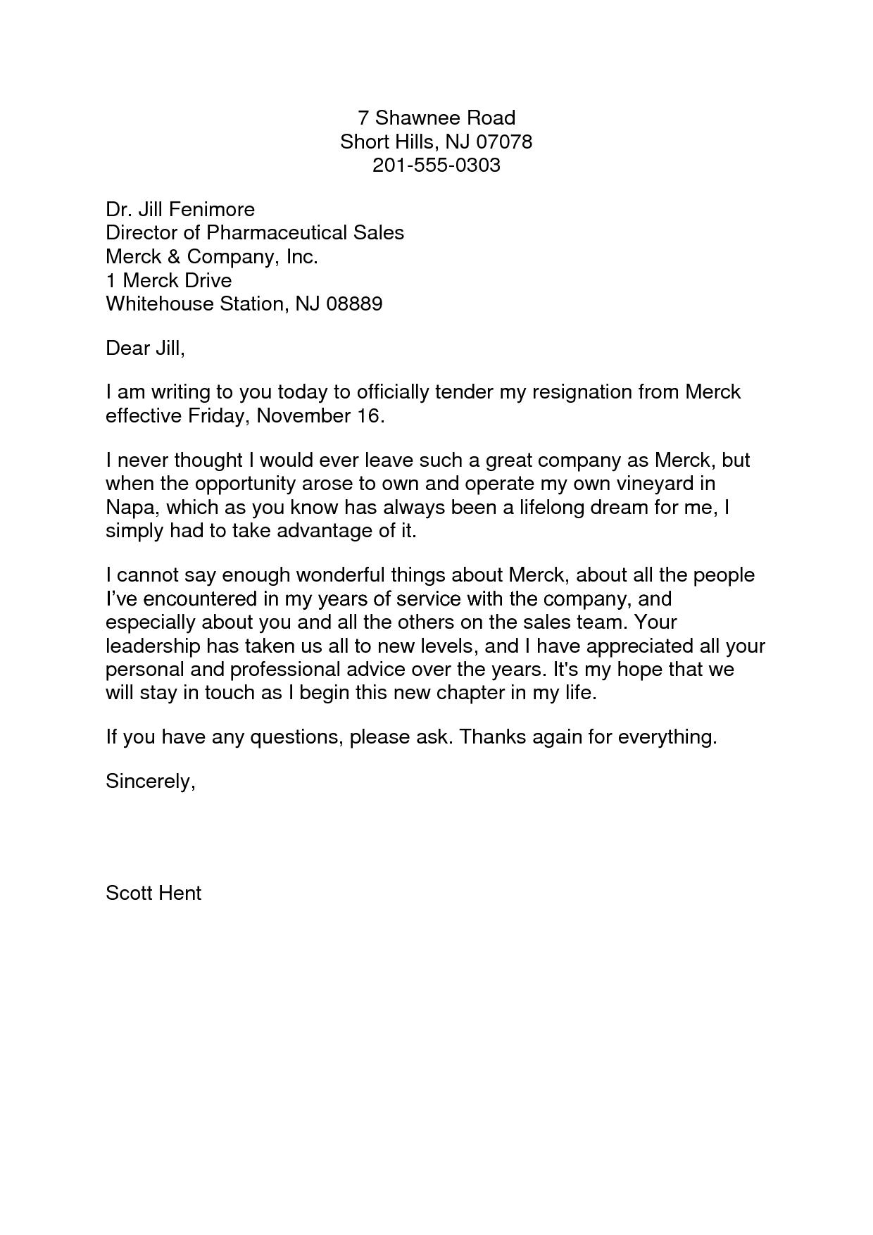 Writing Resignation Letter Template detox nurse cover letter ...