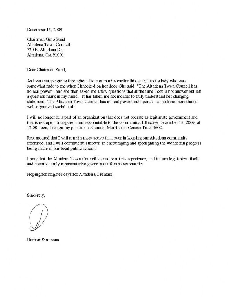 Strong Resignation Letter basic financial statement template – Sample Professional Letter