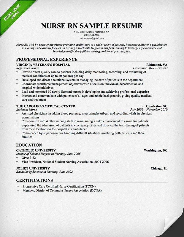 resume for nurses sample obfuscata