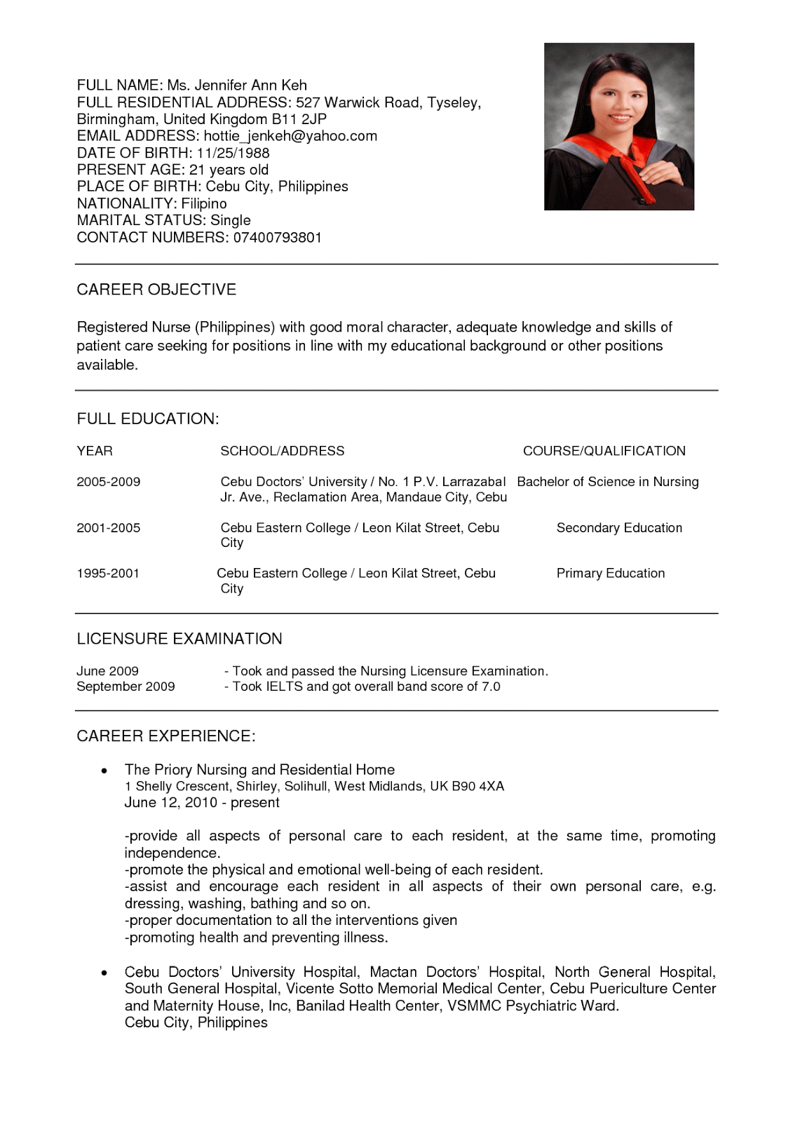 curriculum vitae for nurse - Sample Resume For A Nurse