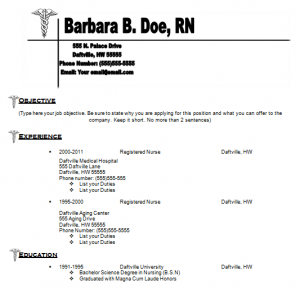 Samples of rn nursing resume