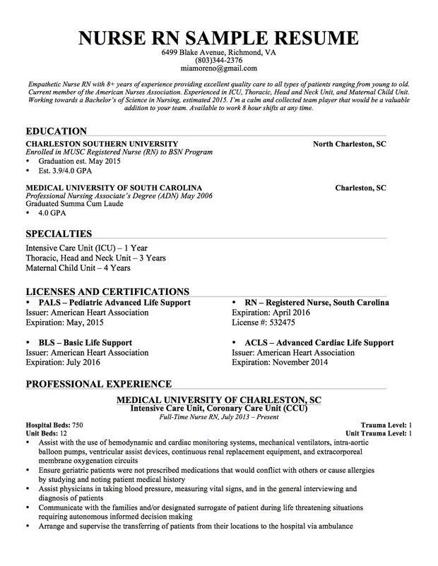 resumes for nurses