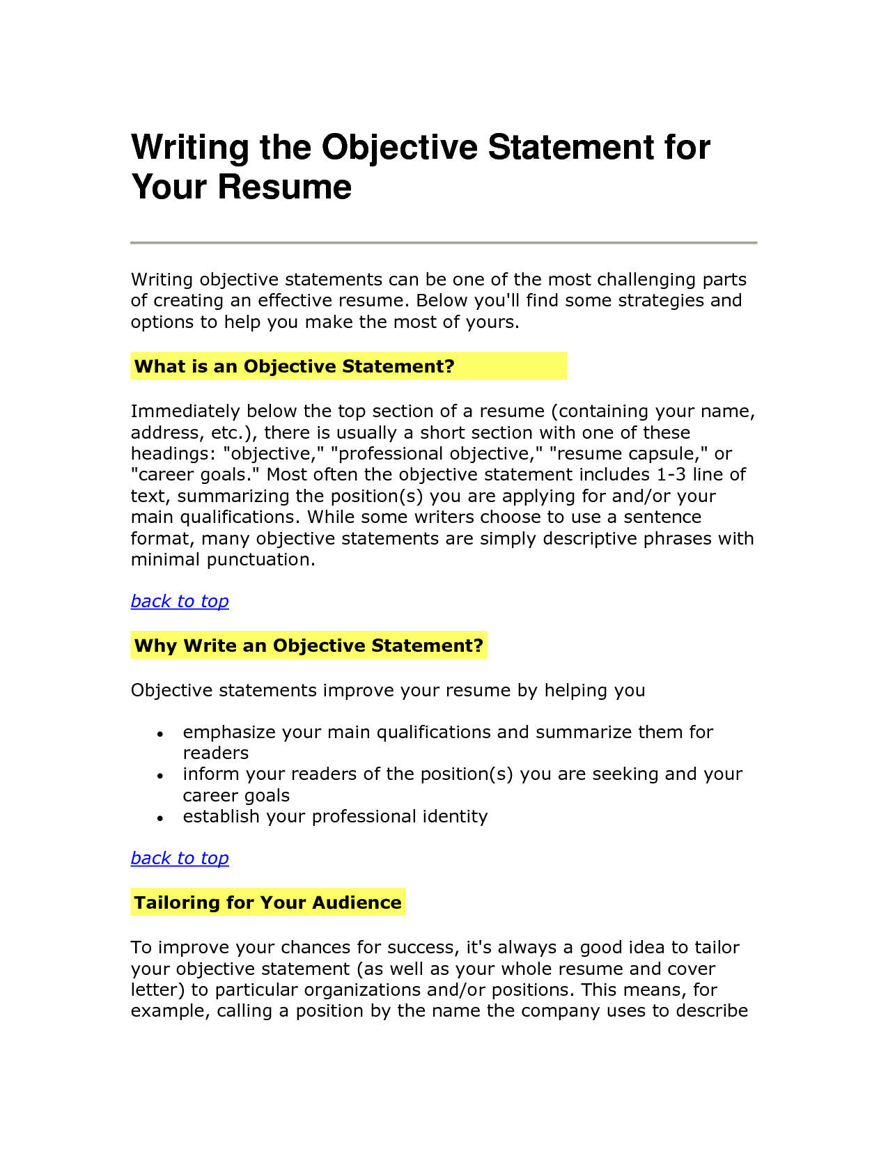 Free resume objective statement examples