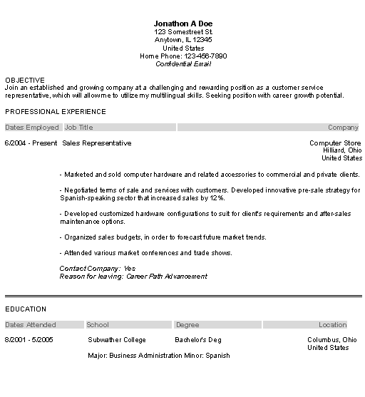 customer service example resume objectives - Objective Statement For Resume