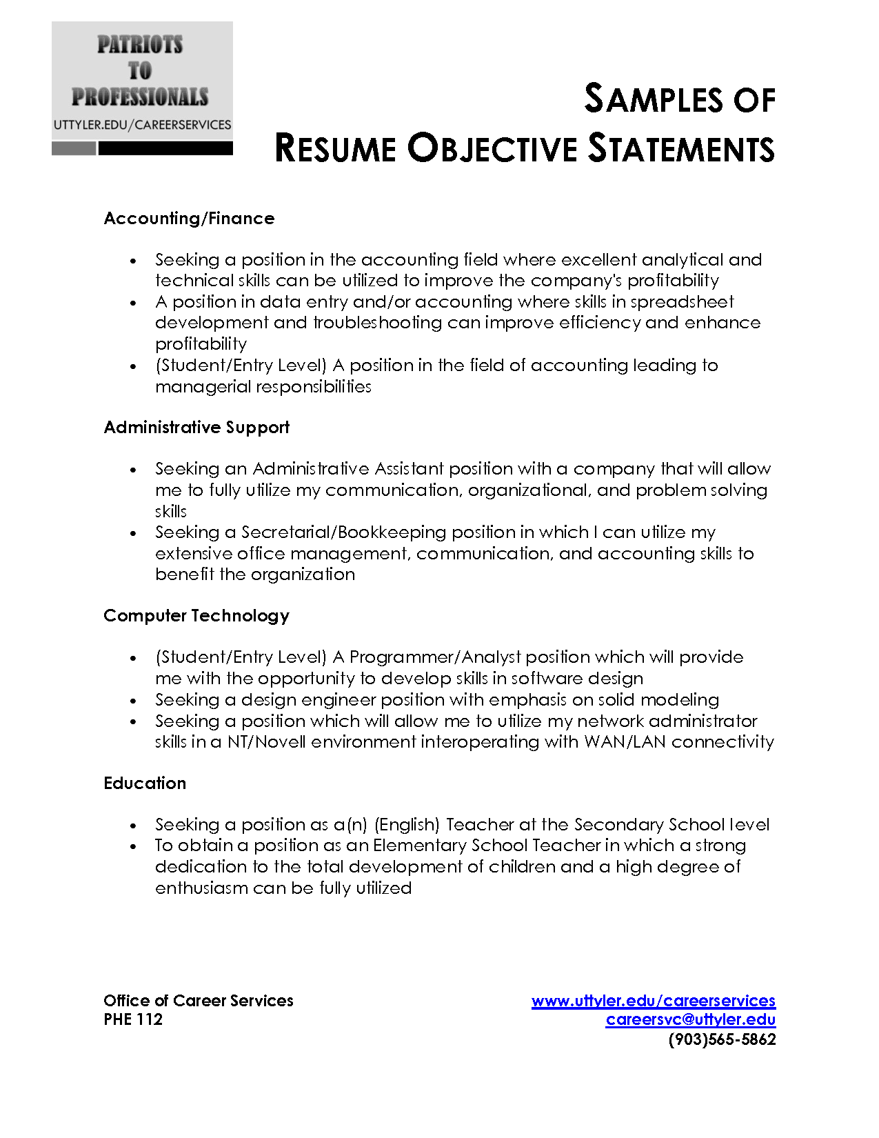 Resume objective statement Obfuscata – Resume Career Objectives