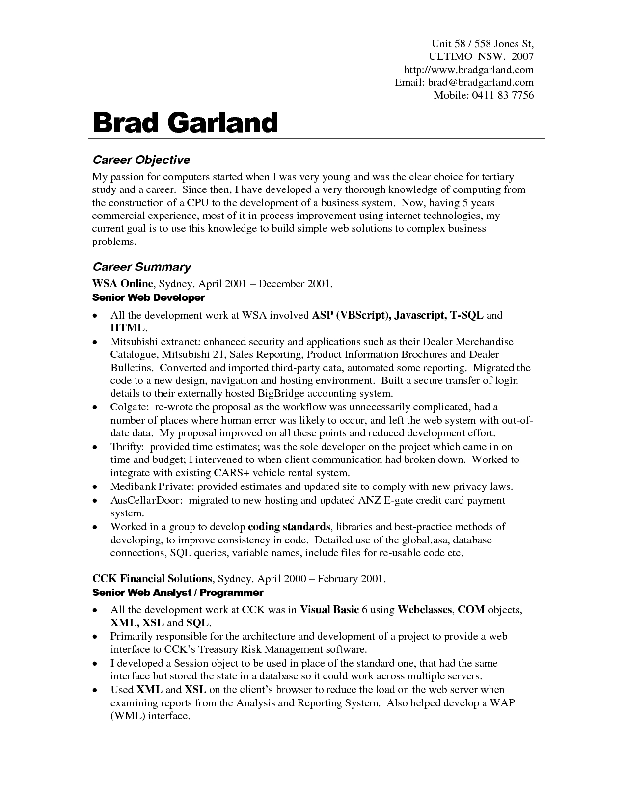 good general objective for resume