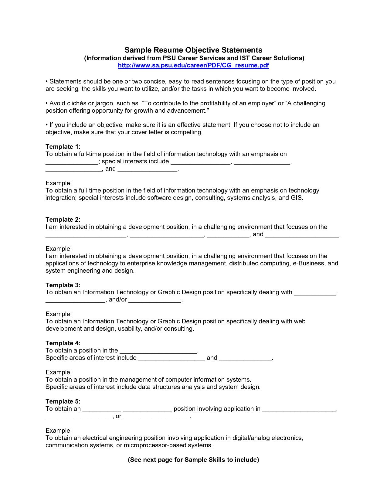 Career Fair Resume Objective Resume For Job Fair Careers