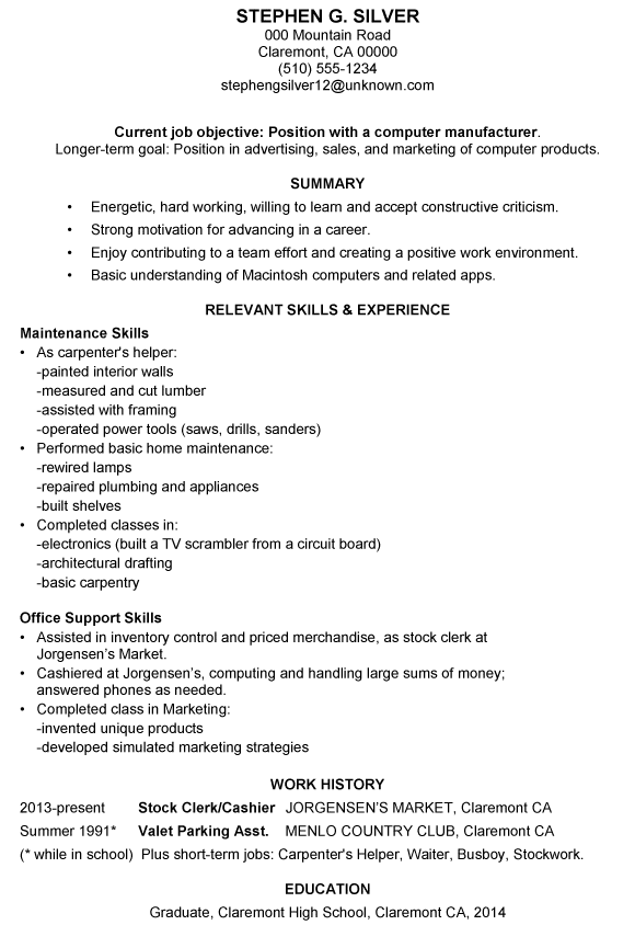 resume sample for employment - Sample Employment Resume