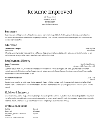 Resume Sample For Employment - Obfuscata