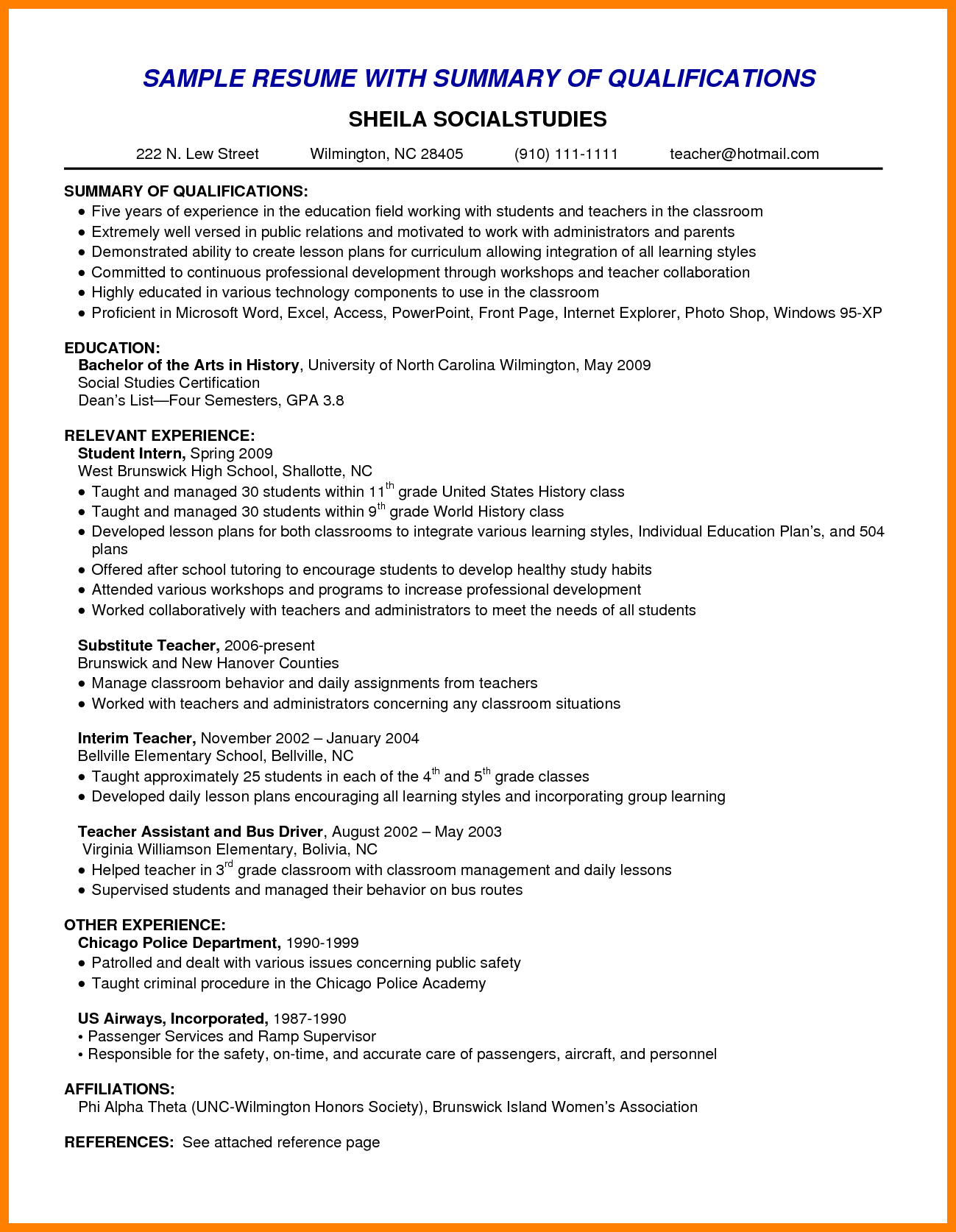 Resume Template High School Nanny Resumes Nanny