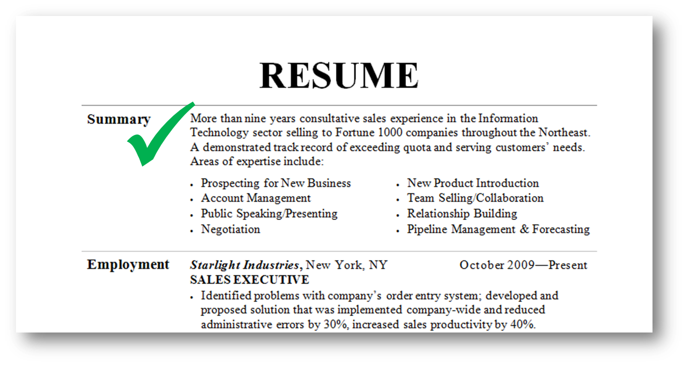 Summary on a resume example